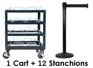12 Post Stanchion Kit With Storage Cart