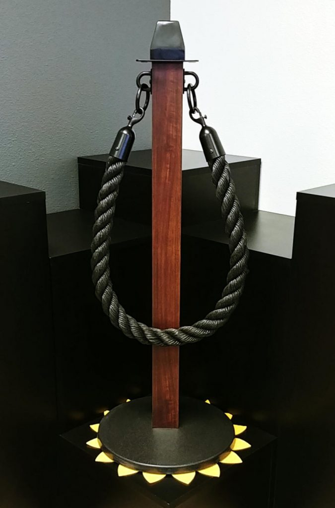 Brown Faux Wood Powder Coated Stanchion With Black Rope
