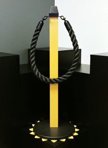Light Oak Faux Wood Stanchion With Black Braided Rope